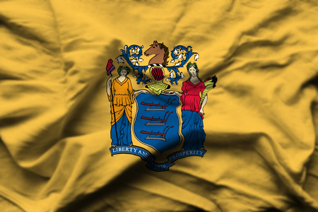 New Jersey 3D wrinkled flag illustration. Usable for background and texture.
