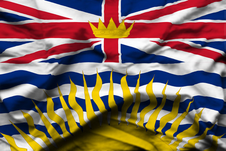 British Columbia 3D wrinkled flag illustration. Usable for background and texture. Фото со стока
