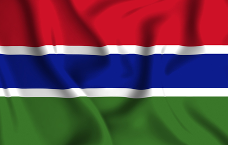Gambia 3D waving flag illustration. Texture can be used as background.