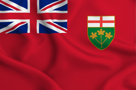 Ontario 3D waving flag illustration. Texture can be used as background.