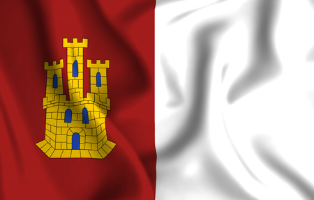 Castilla La Mancha 3D waving flag illustration. Texture can be used as background.
