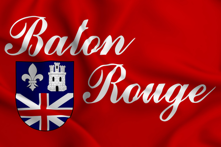 Baton Rouge 3D waving flag illustration. Texture can be used as background. Stock Photo