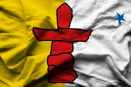 Nunavut 3D wrinkled flag illustration. Usable for background and texture.