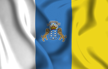 Canary Islands 3D waving flag illustration. Texture can be used as background.