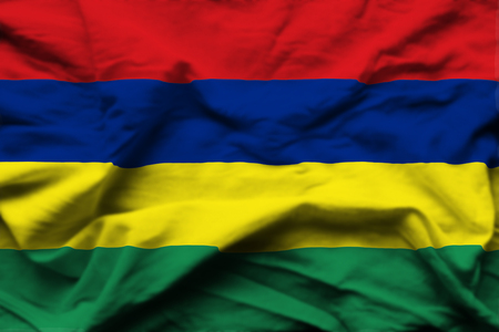 Mauritius 3D wrinkled flag illustration. Usable for background and texture.