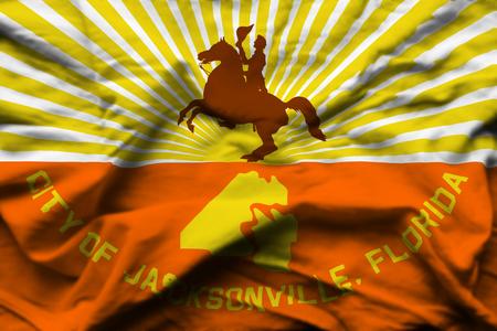 Jacksonville Florida 3D wrinkled flag illustration. Usable for background and texture. Stock Illustration - 109908187
