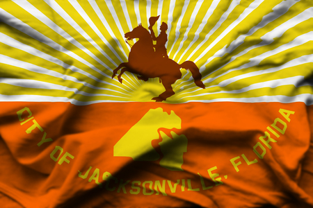 Jacksonville Florida 3D wrinkled flag illustration. Usable for background and texture. Stock Photo