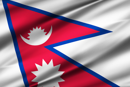 Nepal 3D waving flag illustration. Texture can be used as background.