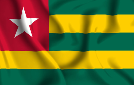 Togo 3D waving flag illustration. Texture can be used as background.
