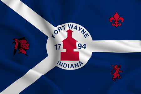 Fort Wayne Indiana 3D waving flag illustration. Texture can be used as background. Stock Illustration - 109908328