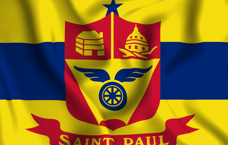 St. Paul Minnesota 3D waving flag illustration. Texture can be used as background.