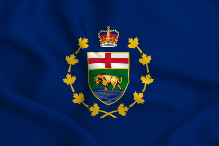 Lieutenant-Governor Of Manitoba 3D waving flag illustration. Texture can be used as background.
