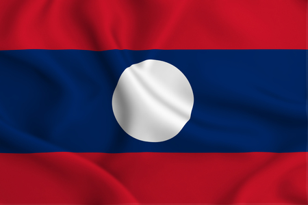 Laos 3D waving flag illustration. Texture can be used as background. Stock Photo