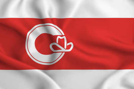 Calgary  Alberta 3D waving flag illustration. Texture can be used as background.