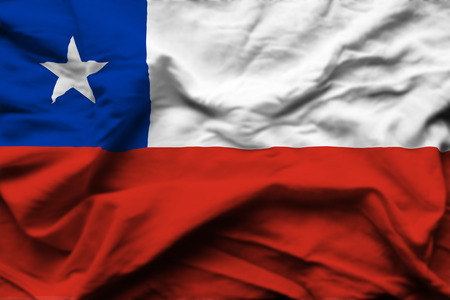 Chile 3D wrinkled flag illustration. Usable for background and texture.