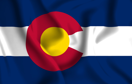 Colorado 3D waving flag illustration. Texture can be used as background. Stock Photo