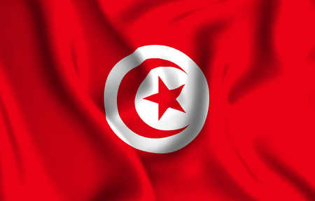 Tunisia 3D waving flag illustration. Texture can be used as background. Stock Photo