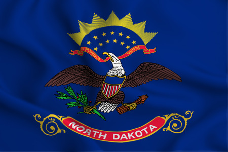 North Dakota 3D waving flag illustration. Texture can be used as background.
