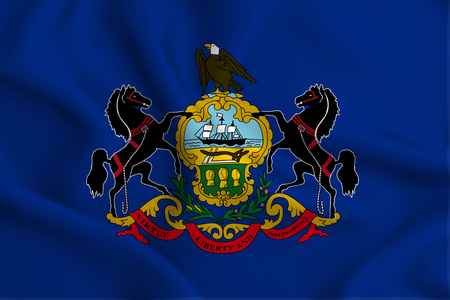 Pennsylvania 3D waving flag illustration. Texture can be used as background. 版權商用圖片