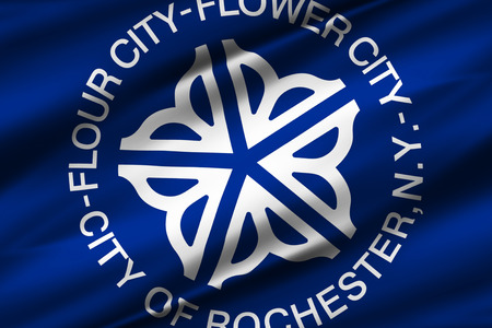 Rochester New York 3D waving flag illustration. Texture can be used as background.