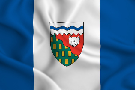 Northwest Territories 3D waving flag illustration. Texture can be used as background.