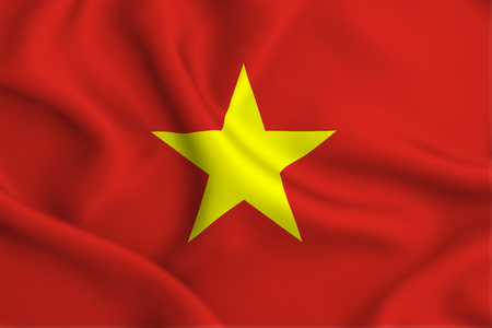 Vietnam 3D waving flag illustration. Texture can be used as background. Stock Photo