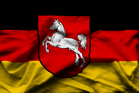 Lower Saxony  3D wrinkled flag illustration. Usable for background and texture. Standard-Bild - 109910213