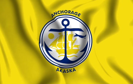 Anchorage Alaska 3D waving flag illustration. Texture can be used as background. 写真素材