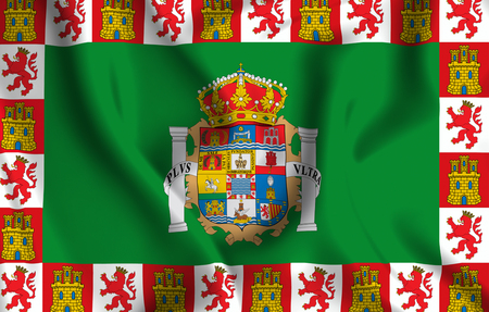 Cadiz 3D waving flag illustration. Texture can be used as background.