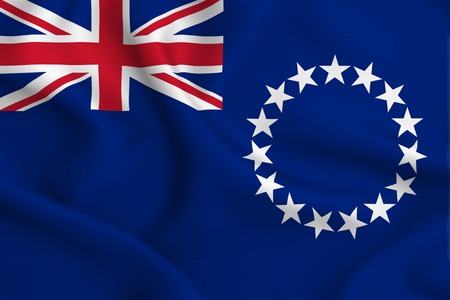 Cook Islands 3D waving flag illustration. Texture can be used as background.
