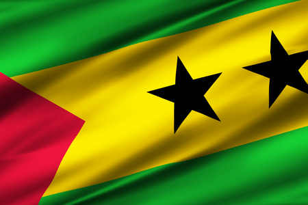 Sao Tome And Principe 3D waving flag illustration. Texture can be used as background.