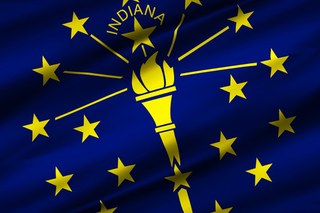 Indiana 3D waving flag illustration. Texture can be used as background.