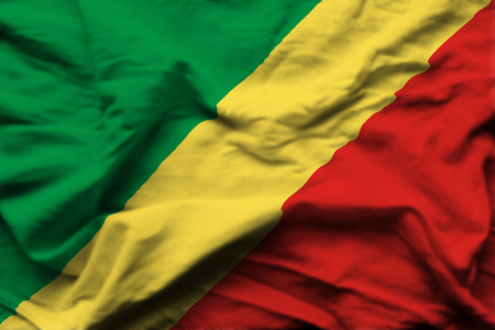 Republic Of Congo 3D wrinkled flag illustration. Usable for background and texture. Stock Photo