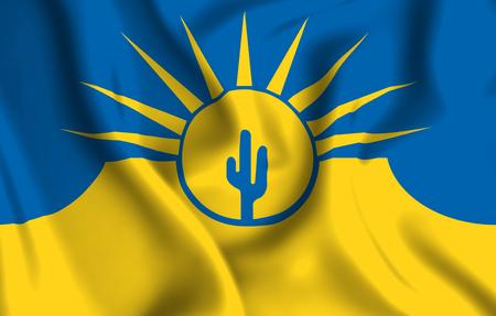 Mesa Arizona 3D waving flag illustration. Texture can be used as background. 版權商用圖片