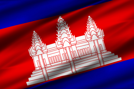 Cambodia 3D waving flag illustration. Texture can be used as background.