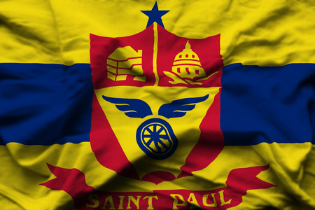 St. Paul Minnesota 3D wrinkled flag illustration. Usable for background and texture.