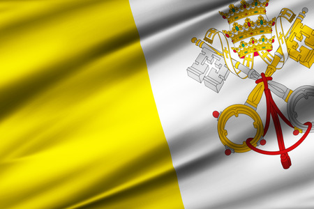 Vatican 3D waving flag illustration. Texture can be used as background.