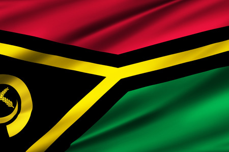 Vanuatu 3D waving flag illustration. Texture can be used as background.