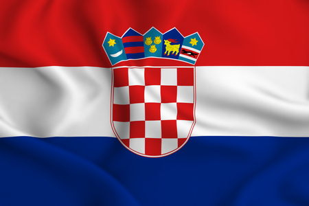 Croatia 3D waving flag illustration. Texture can be used as background. Stock Illustration - 109910919