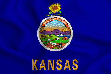 Kansas 3D waving flag illustration. Texture can be used as background. Stock Photo