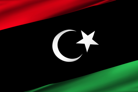 Libya 3D waving flag illustration. Texture can be used as background.