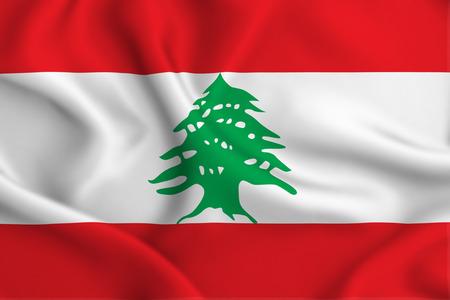Illustration de drapeau ondulant du Liban 3D. La texture peut être utilisée comme arrière-plan. Banque d'images