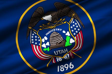 Utah 3D waving flag illustration. Texture can be used as background. 版權商用圖片 - 109911243