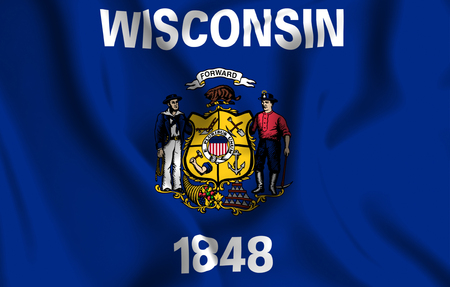 Wisconsin 3D waving flag illustration. Texture can be used as background.