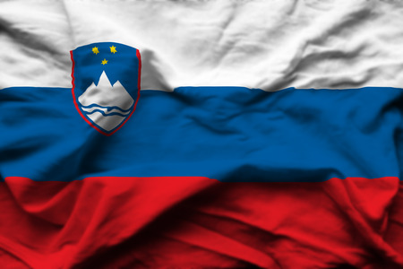 Slovenia 3D wrinkled flag illustration. Usable for background and texture.