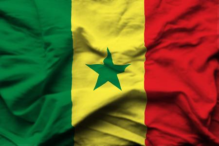 Senegal 3D wrinkled flag illustration. Usable for background and texture.