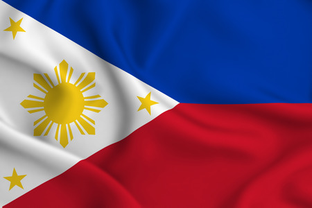 Philippines 3D waving flag illustration. Texture can be used as background. Stok Fotoğraf
