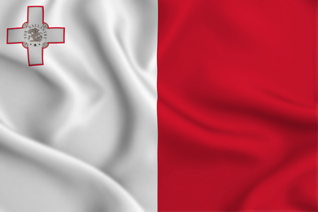 Malta 3D waving flag illustration. Texture can be used as background. 스톡 콘텐츠