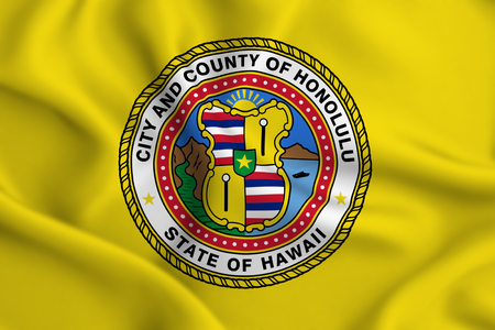 Honolulu Hawaii 3D waving flag illustration. Texture can be used as background.