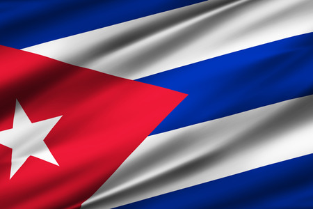 Cuba 3D waving flag illustration. Texture can be used as background.